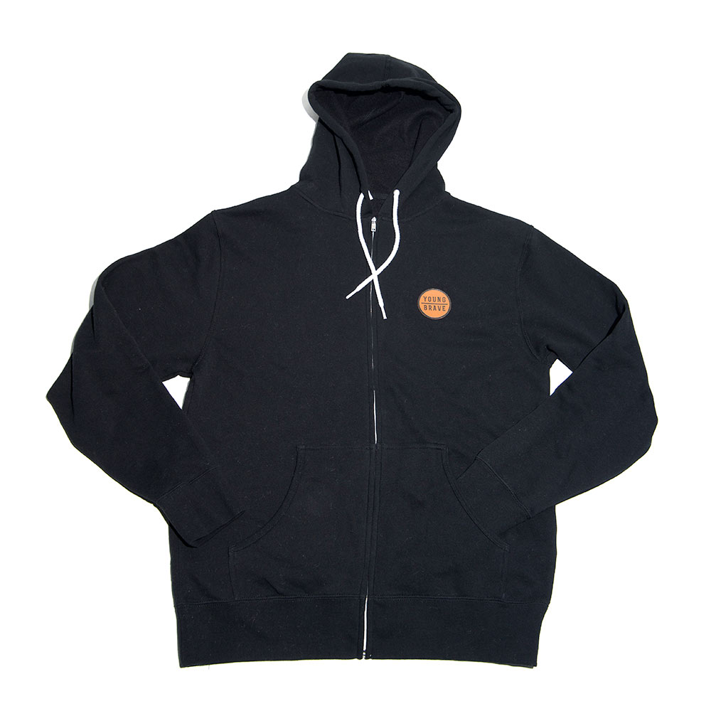 Black YB Hooded Sweatshirt with Leather Patch