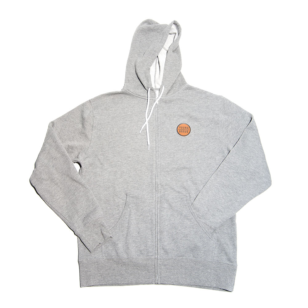Gray YB Hooded Sweatshirt with Leather Patch